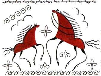 Декоративное изображение животных в традиционной мезенской росписи