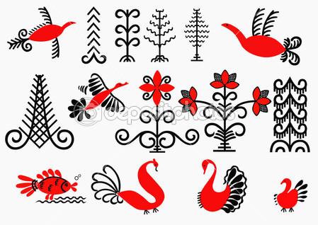 Элементы мезенской росписи — Векторная иллюстрация #7591752
