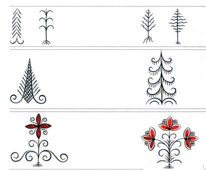 Декоративное изображение деревьев и цветов в традиционной мезенской росписи