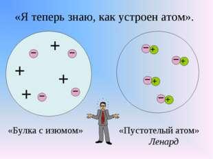 «Я теперь знаю, как устроен атом». + + + + «Булка с изюмом» «Пустотелый атом»