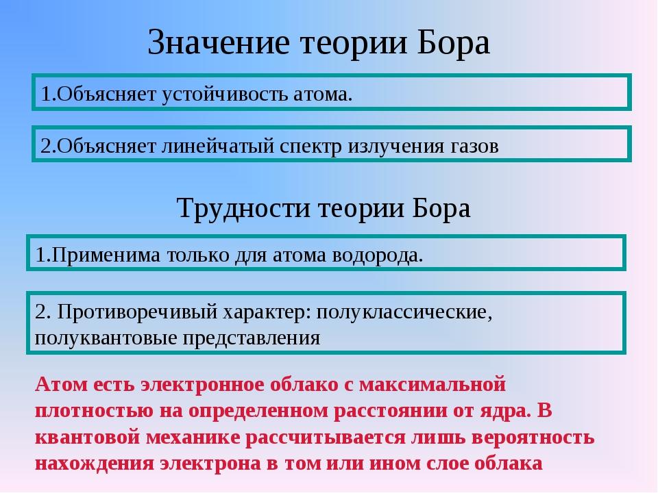 Значение теории Бора 1.Объясняет устойчивость атома. 2.Объясняет линейчатый с...