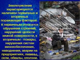 Землетрясения характеризуются наличием первичных и вторичных поражающих факт