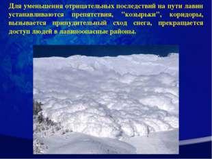 Для уменьшения отрицательных последствий на пути лавин устанавливаются препят