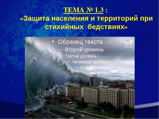 ТЕМА № 1.3 : «Защита населения и территорий при стихийных бедствиях»