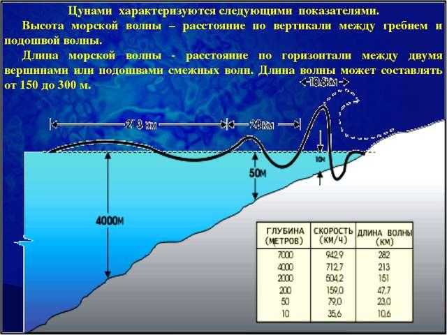 Цунами характеризуются следующими показателями. Высота морской волны – рассто...