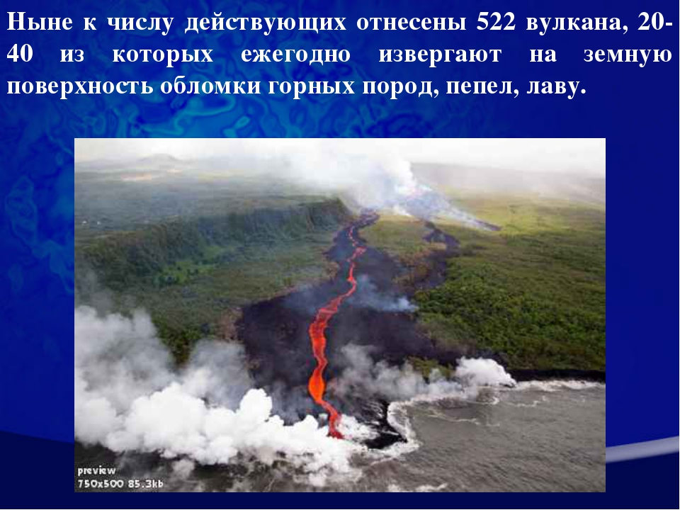 Ныне к числу действующих отнесены 522 вулкана, 20-40 из которых ежегодно изве...
