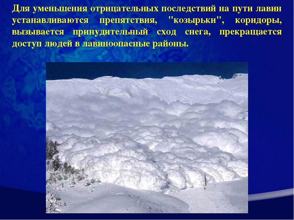 Для уменьшения отрицательных последствий на пути лавин устанавливаются препят...