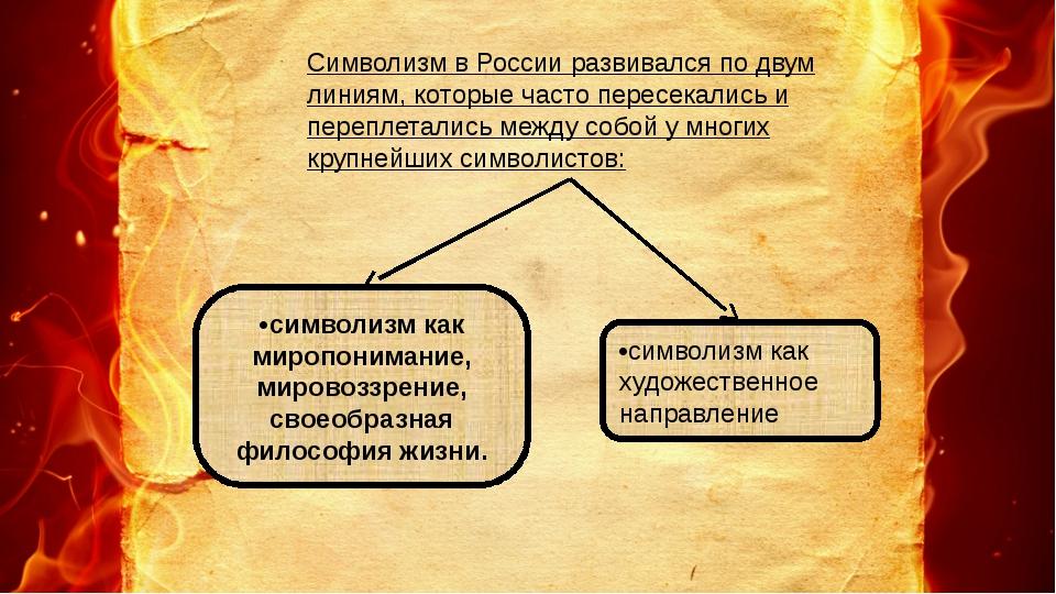 Символизм в России развивался по двум линиям, которые часто пересекались и пе...