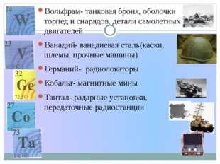 Вольфрам- танковая броня, оболочки торпед и снарядов, детали самолетных двиг