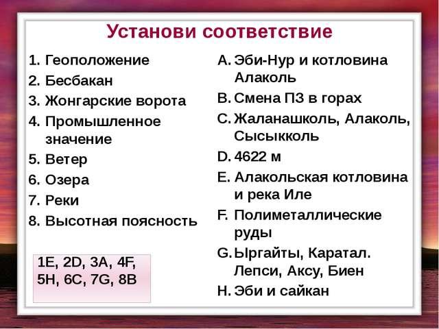 Установи соответствие Геоположение Бесбакан Жонгарские ворота Промышленное зн...