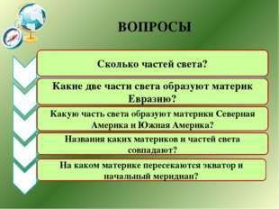 ВОПРОСЫ Сколько частей света? Какие две части света образуют материк Евразию?