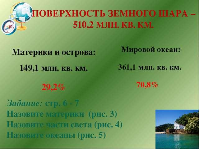 ПОВЕРХНОСТЬ ЗЕМНОГО ШАРА – 510,2 МЛН. КВ. КМ. Материки и острова: 149,1 млн....