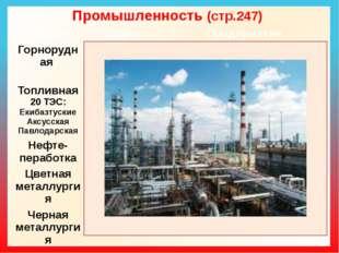 Промышленность (стр.247) Отрасль Сырье Предприятия Горнорудная Железнаяруда Г