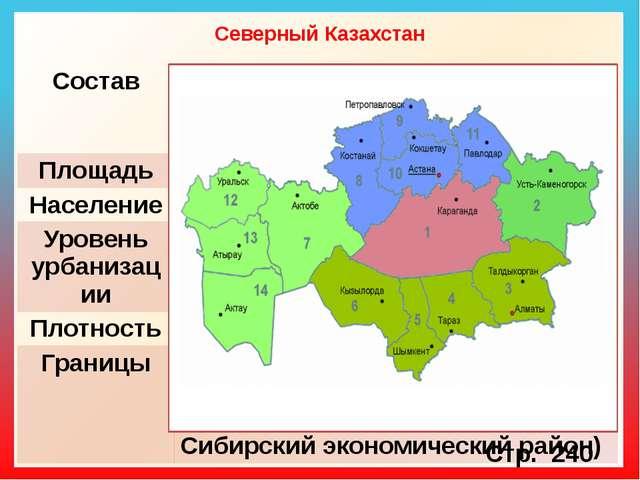 Северный Казахстан Стр. 240 Состав Северо-Казахстанская,Костанайская,Акмолинс...