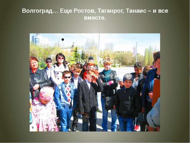 Волгоград… Еще Ростов, Таганрог, Танаис – и все вместе.