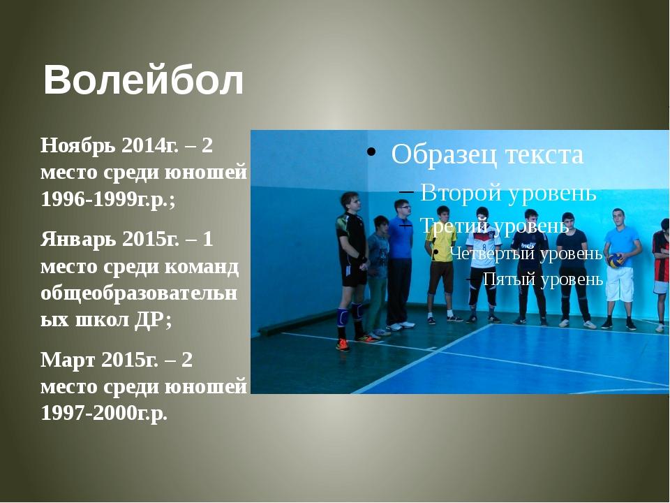 Волейбол Ноябрь 2014г. – 2 место среди юношей 1996-1999г.р.; Январь 2015г. –...