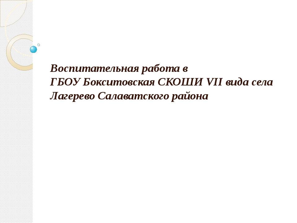 Воспитательная работа в ГБОУ Бокситовская СКОШИ VII вида села Лагерево Салав...