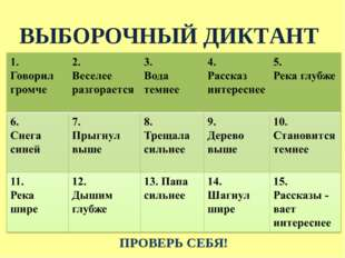ВЫБОРОЧНЫЙ ДИКТАНТ ПРОВЕРЬ СЕБЯ!