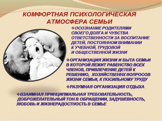 КОМФОРТНАЯ ПСИХОЛОГИЧЕСКАЯ АТМОСФЕРА СЕМЬИ