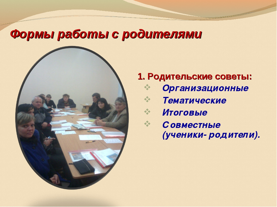 Формы работы с родителями Организационные Тематические Итоговые Совместные (у...