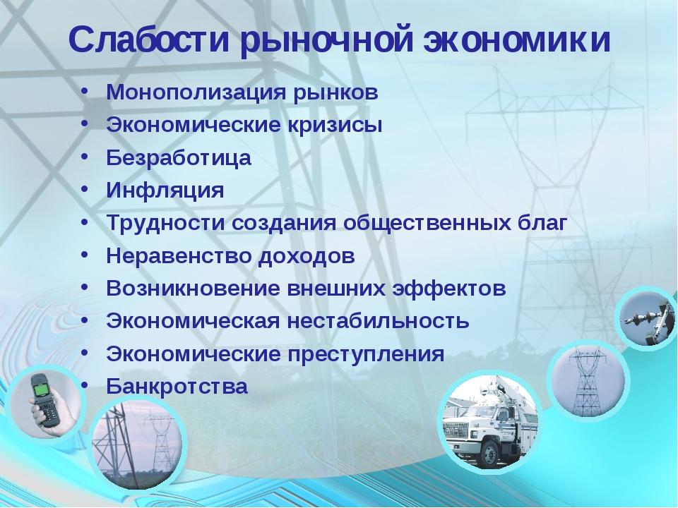 Слабости рыночной экономики Монополизация рынков Экономические кризисы Безраб...