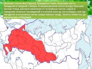 Населяет почти всю Европу, Переднюю Азию, большую часть Западной и Средней Си