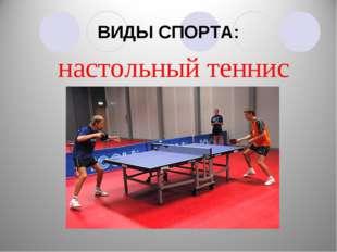 ВИДЫ СПОРТА: настольный теннис