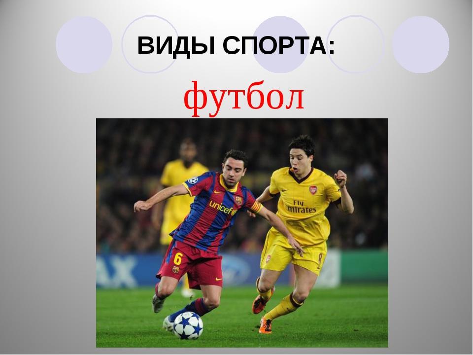 ВИДЫ СПОРТА: футбол