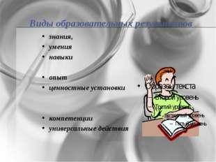 Виды образовательных результатов знания, умения навыки опыт ценностные устано