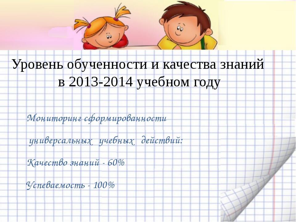 Уровень обученности и качества знаний в 2013-2014 учебном году Мониторинг сфо...