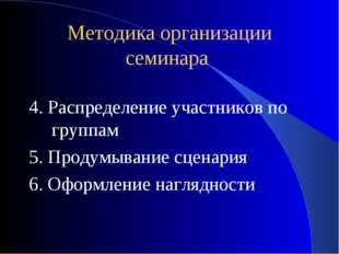Методика организации семинара 4. Распределение участников по группам 5. Проду