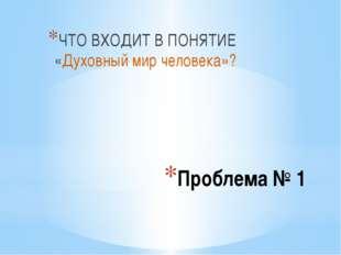 Проблема № 1 ЧТО ВХОДИТ В ПОНЯТИЕ «Духовный мир человека»?