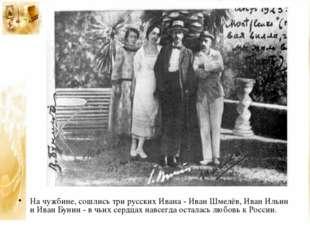 На чужбине, сошлись три русских Ивана - Иван Шмелёв, Иван Ильин и Иван Бунин
