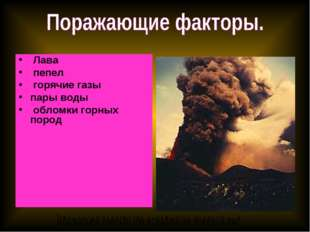 Лава пепел горячие газы пары воды обломки горных пород