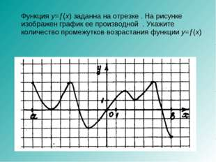 Функция y=ƒ(x) заданна на отрезке . На рисунке изображен график ее производн