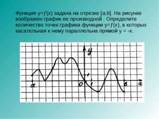 Функция y=ƒ(x) задана на отрезке [a;b]. На рисунке изображен график ее произ