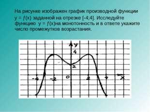 На рисунке изображен график производной функции y = ƒ(x) заданной на отрезке