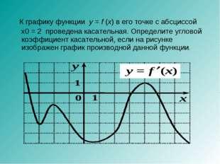 К графику функции y=f(x) в его точке с абсциссой x0 = 2 проведена касател