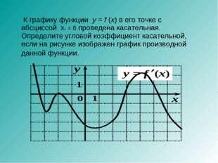 К графику функции y=f(x) в его точке с абсциссой x0 = 6 проведена касател