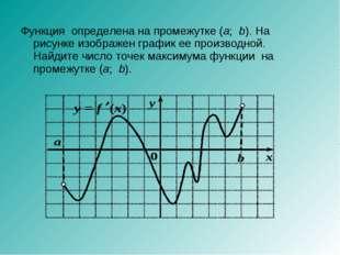 Функция определена на промежутке (а;b). На рисунке изображен график ее прои
