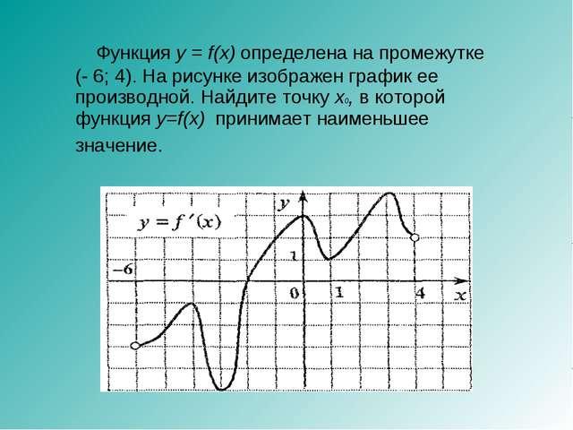 Функция y = f(x) определена на промежутке (- 6; 4). На рисунке изображен гра...
