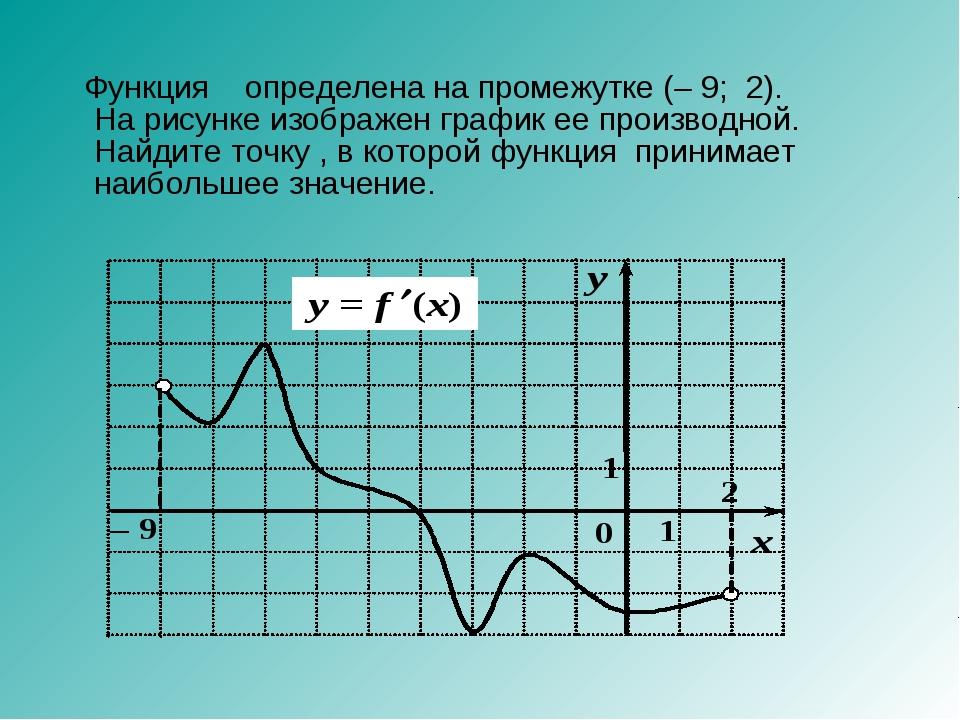 Функция определена на промежутке (–9;2). На рисунке изображен график ее п...