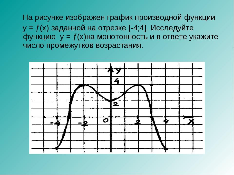 На рисунке изображен график производной функции y = ƒ(x) заданной на отрезке...