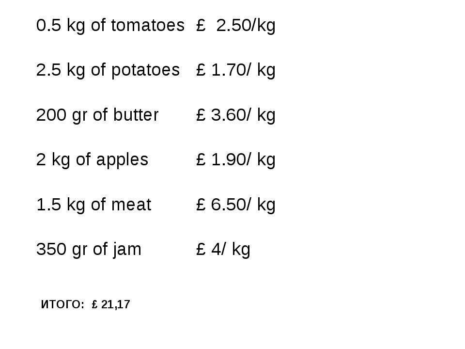 ИТОГО: £ 21,17 0.5 kg of tomatoes 2.5 kg of potatoes 200 gr of butter 2 kg of...
