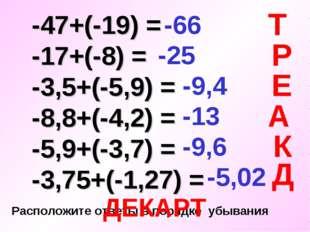 -47+(-19) = -17+(-8) = -3,5+(-5,9) = -8,8+(-4,2) = -5,9+(-3,7) = -3,75+(-1,2