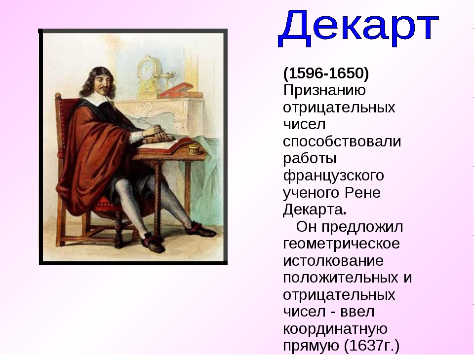 (1596-1650) Признанию отрицательных чисел способствовали работы французского...