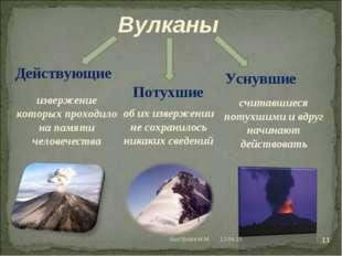 Действующие Потухшие Уснувшие извержение которых проходило на памяти человече