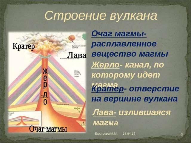Строение вулкана Очаг магмы- расплавленное вещество магмы Жерло- канал, по к...
