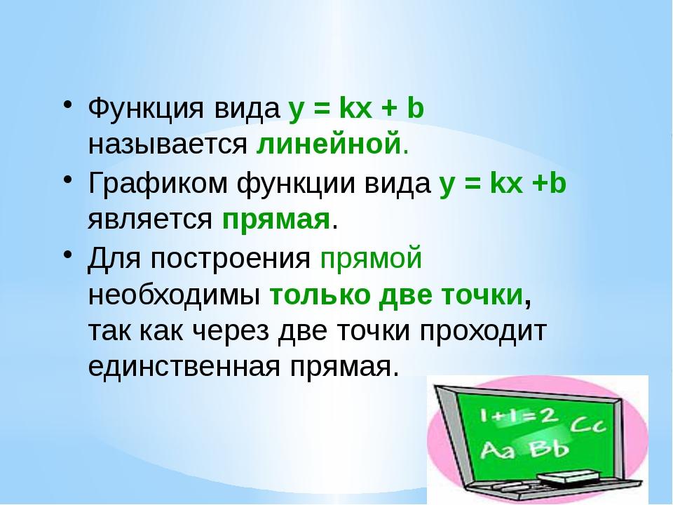 Функция вида у = kx + b называется линейной. Графиком функции вида у = kx +b...
