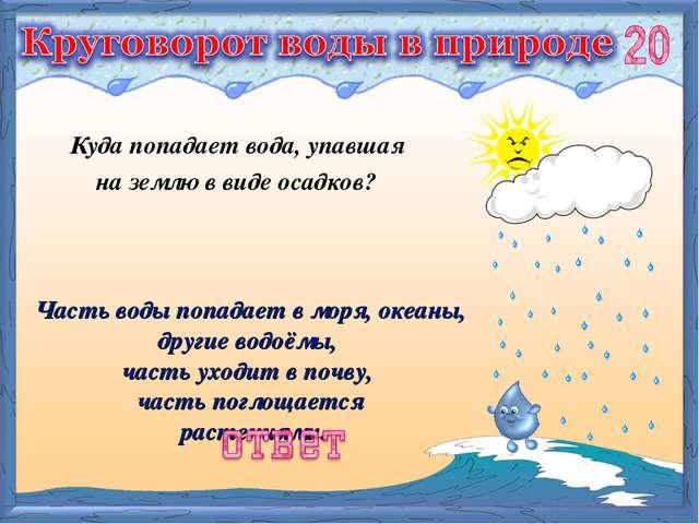 Часть воды попадает в моря, океаны, другие водоёмы, часть уходит в почву, час...